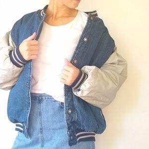 Vintage • oversized denim bomber jacket coat